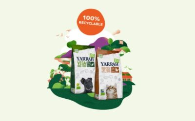 Yarrah Organic Petfood uses fully recyclable packaging for cat and dog kibble products